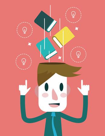 COGNICION: Educación y concepto de inspiración. diseño plano.