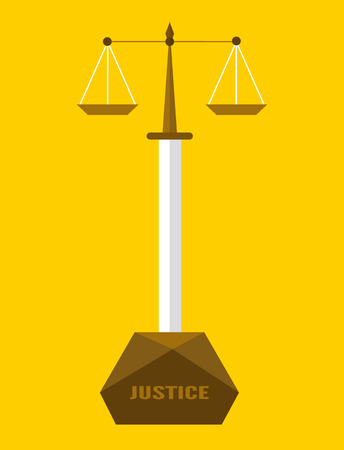 justness: scales sword of justice. Corruption and Justice concept. flat design.