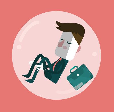 egoist: Businessman sleep in comfort zone balloon. Egoism and Comfort zone concept. Illustration