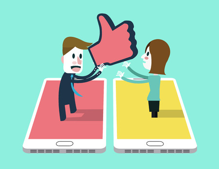 Man sent thump up icon to A girl on smartphone . social networking and relationship concept. 向量圖像