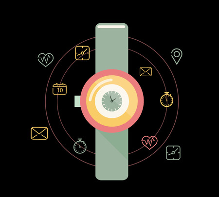 Smart watch or wearable on hand device with feature icons set. flat design.  Illustration