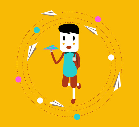 throwing paper: Happy boy learning and throwing paper airplane.  Illustration