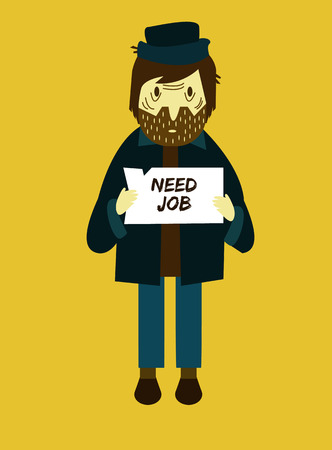 Unemployed men holding cardboard paper with Need a Job message. Job seeking, unemployment and homeless issues. flat character. vector illustration Vector