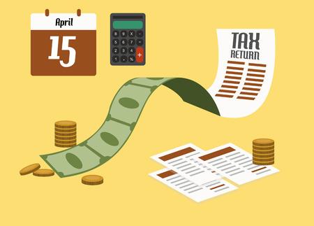 tax: Tax return concept. flat design. vector illustration