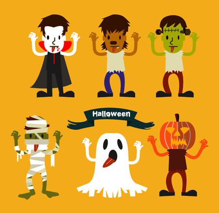 Halloween Character set. Halloween Party costume. flat design. vector illustration