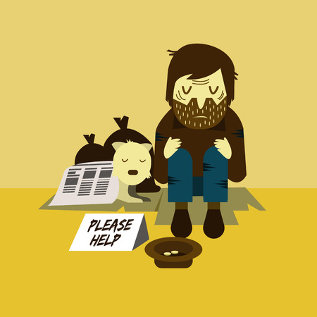 poor man: Homeless man with a dog sleeping on street. unemployment and homeless issues. flat character. vector illustration