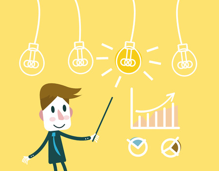 Man pointing at a Idea lightbulb with growth charts. business creativity and successful. flat vector illustration Vector