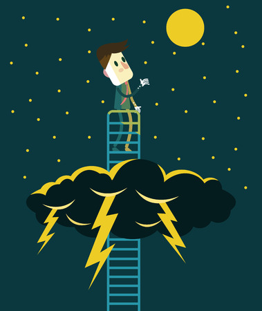 business obstacle: Businessman enjoy with Beautiful sky after the storm. Business obstacle and successful concept. flat vector illustration Illustration