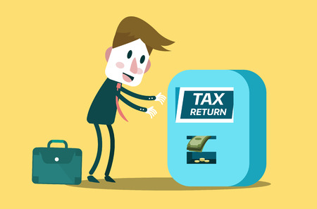 filing documents: Tax return concept. flat design. vector illustration