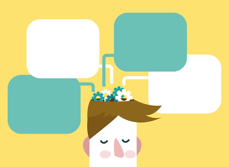 Gears of thoughts. Man with thinking bubbles. flat design.vector illustration Ilustração