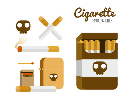 baccy: Cigarette and lighter set. Smoking kill concept. flat design element. vector illustration Illustration