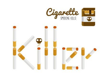 nicotine: Smoking killer typography. flat design element. vector illustration