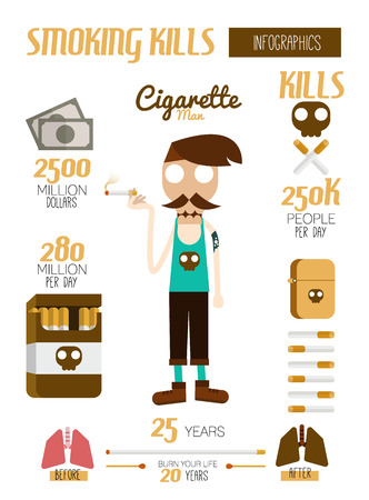 ash: Smoking kills infographic. flat design element. vector illustration