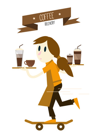 break in: Girl is serving coffees with skateboard. flat design character. vector illustration
