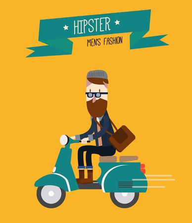 menu land: Hipster man is riding scooter. flat character design. vector illustration