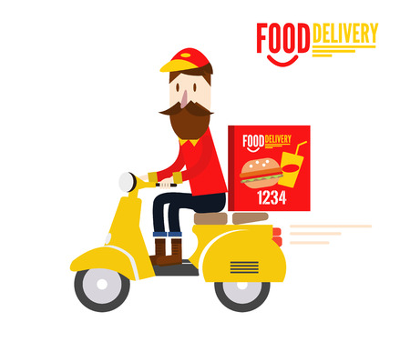 food sales: Food delivery man is riding yellow motor bike. flat character design. vector illustration