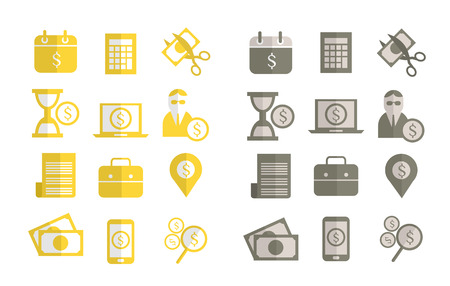 places of interest: Finance, Tax and Banking flat design icons. vector