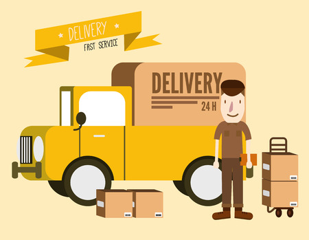 man carrying box: Postal delivery courier man in front of cargo van. delivering package. flat design. vector illustration Illustration