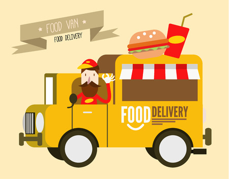 Hamburger van. fast food delivery. flat design vector illustration background Vector