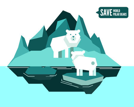Polar bears is separated from family. global warming concept. flat design element. vector illustration