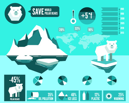 Polar bears with polluted ocean and global warming Infographics. flat design element. vector illustration Vettoriali