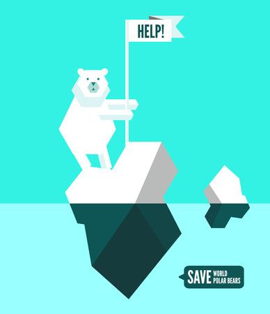 Polar bears with help sign. flat design element. vector illustration