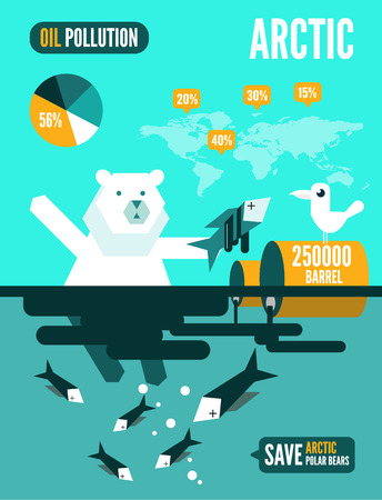 devastate: Polar bears with dead fishes and oil tank in polluted ocean infographics. flat design element. vector illustration