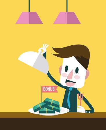 exciting: Businessman exciting with big bonus. flat design. vector illustration Illustration