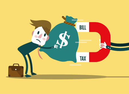 Grote Bill, Tax magneet trekt geld zakenman. platte design. vector illustratie Stock Illustratie