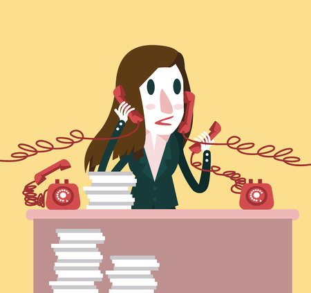 hectic: Busy businesswoman holding a lot of Telephones. Hard working concept. flat character design. vector illustration