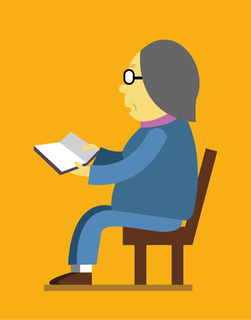 flat character: Retired woman reading a book. flat character design. vector illustration Illustration
