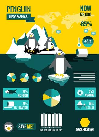 ペンギンは海洋汚染と地球温暖化のインフォ グラフィック。平らな設計要素です。ベクトル イラスト