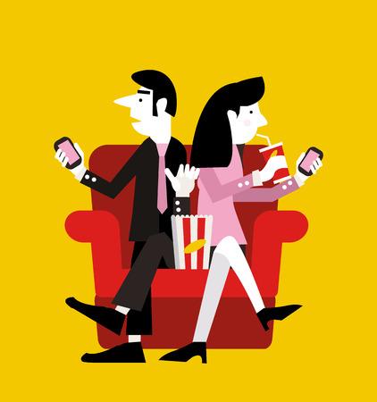 mania: Smart phone mania. modern life concept. character design. flat vector illustration