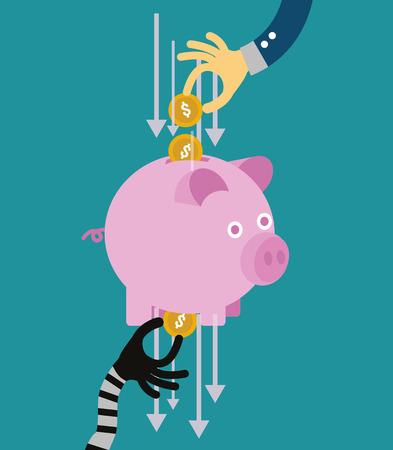 Hand stealing money from piggy bank. flat design. vector illustration
