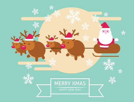 Santa Claus flying in his sleigh. merry xmas & Happy New year. flat character design. vector illustration Vector