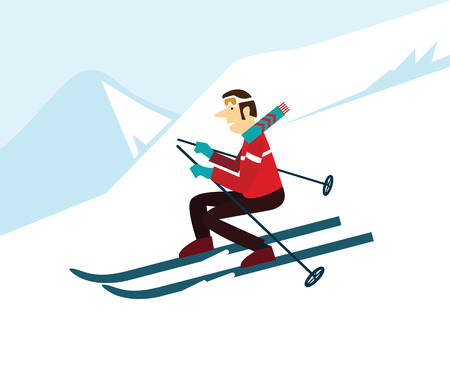 thrill: young man skiing. flat character design. vector illustration Illustration