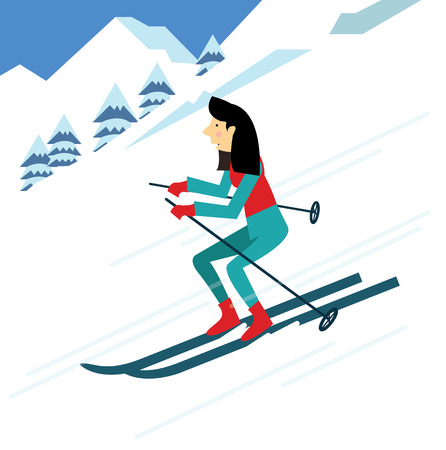 thrill: young woman skiing. flat character design. vector illustration Illustration