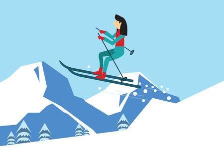 flat character: young woman skiing. flat character design. vector illustration Illustration