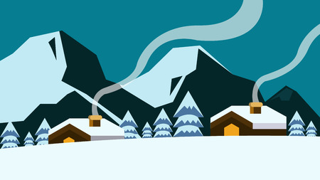 hoar frost: Old village in the mountains at winter. flat design element.vector illustration