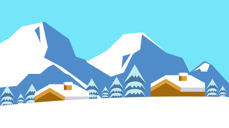 Old village in the mountains at winter. flat design element.vector illustration Vector