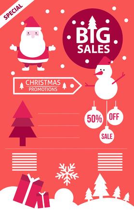 Christmas Big Sales info graphics. flat design elements. vector illustration