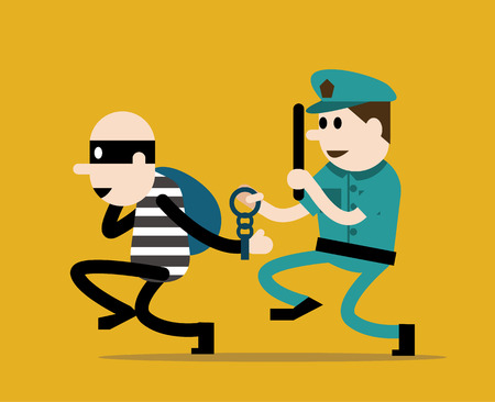 sergeant: police trying to catch a criminal. flat character design. vector illustration Illustration