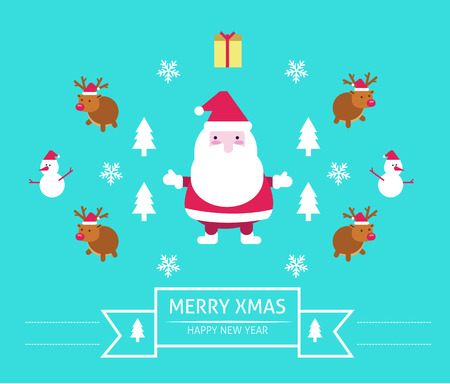 Christmas & New year Background. flat character design. vector illustration