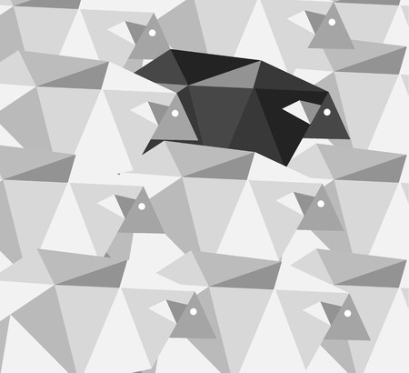 flock of sheep: Black sheep in the crowd. Geometric Abstract background. Flat design elements. vector illustration Illustration
