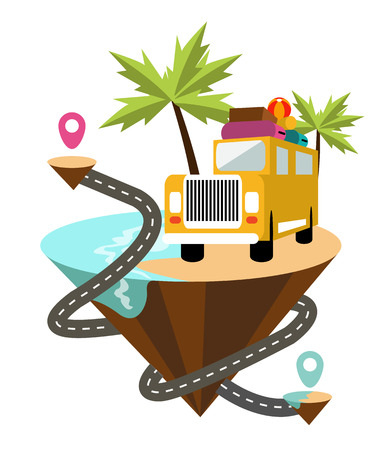 check in: Yellow vintage van in the beach. flat design element . vector illustration Illustration