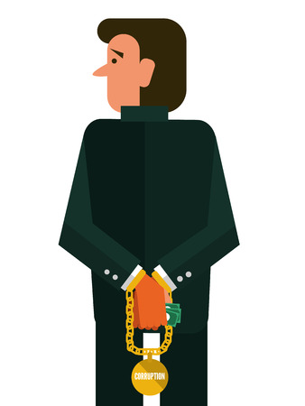 Corruption man. flat design. vector illustration