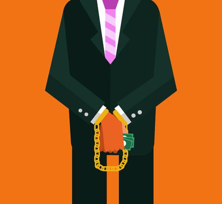 corruption: Corruption man. flat design. vector illustration