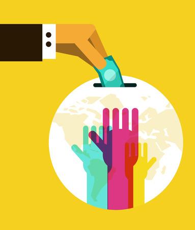 Donation to globe box. flat design element. vector illustration