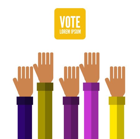voting rights: Hands voting. flat design elements. vector illustration