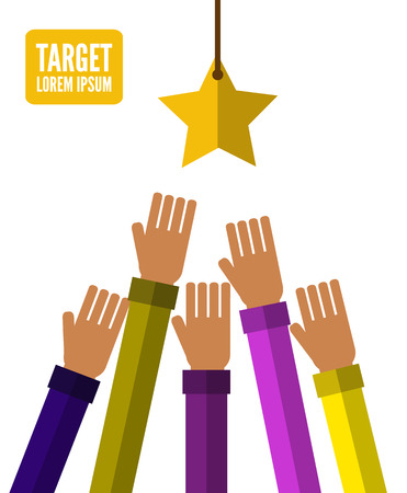 Hands try to holding the star. Competition concept. vector illustration